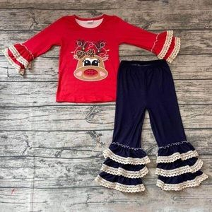 Christmas winter deer embroidered lace outfit